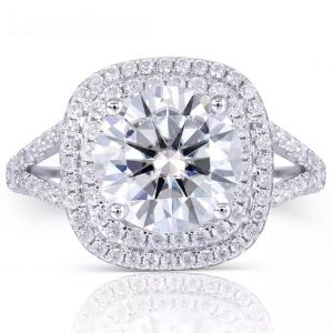 Cushion Cut, Double Halo engagement ring prong