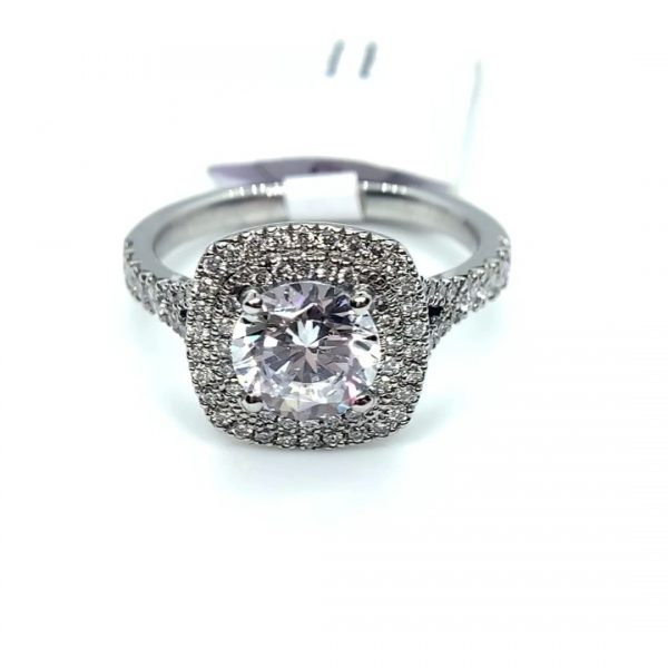 Cushion Cut Double Halo Setting Only