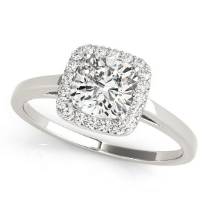 Cushion Cut Halo Engagement Ring plain band