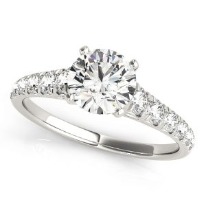 Round Diamond Reverse Tapered Engagement Ring, Prong Set