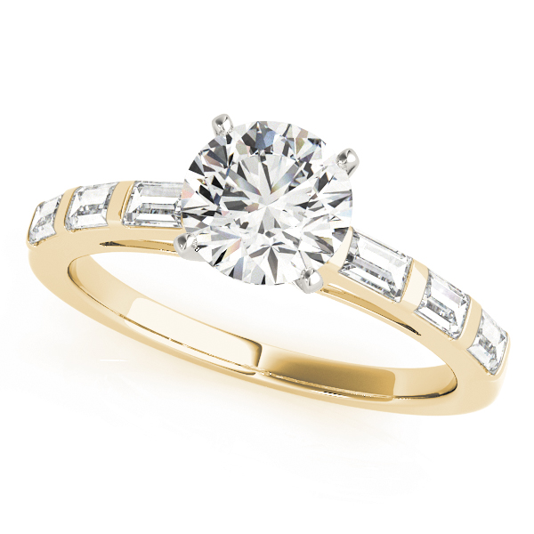 Engagement ring with large main stone with small diamonds in band