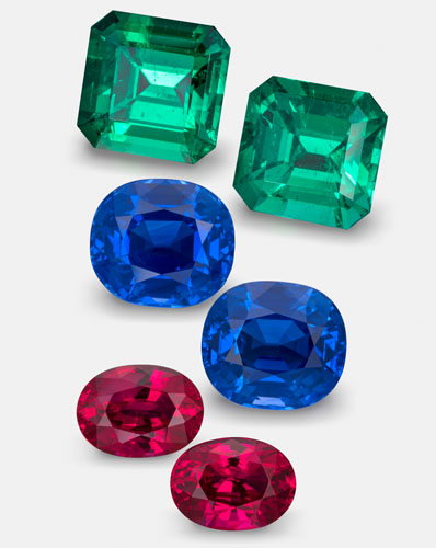 Red, Green & Blue Gemstone Examples