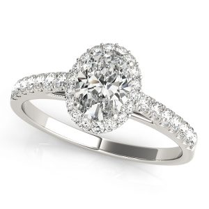 Oval Halo Engagement Ring prong set diamonds