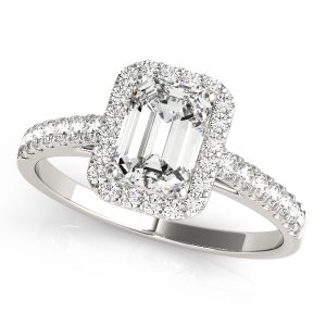 emerald Cut halo engagement ring prong set