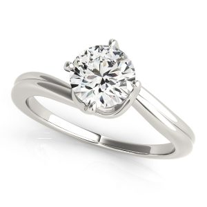18K White Gold Four Prong Twist, Solitaire Engagement Ring 0.30ct