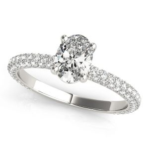 18K White Gold Four Prong, Pave Setting Engagement Ring 0.70ct