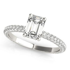 Emerald Cut Diamond Engagement Ring, French Pave Set.