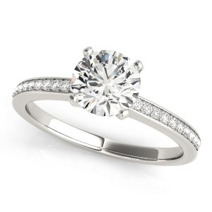 18K White Gold Four Prong, Grain Set Engagement Ring 0.50ct