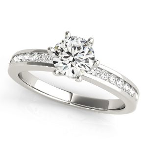Round Brilliant Cut Channel Set, Engagement Ring six prongs
