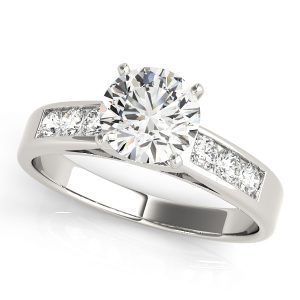 Round brilliant cut diamond engagement ring channel setting