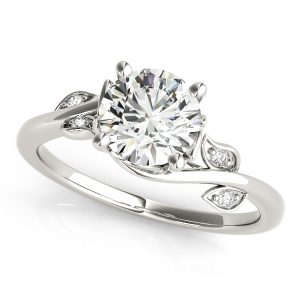 floral design round cut diamond engagement ring