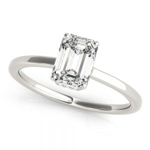 18K White Gold Four Prong, Under Halo Engagement Ring