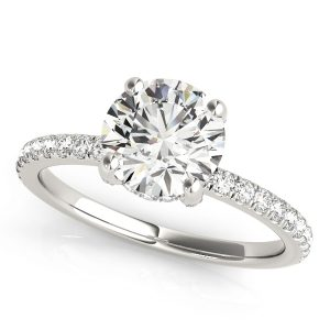 Petite round diamond hidden halo Engagement ring.