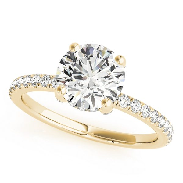 18K Yellow Gold, Round Cut Under Halo Diamond Engagement Ring 1ct