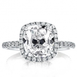 Cushion Cut halo engagement ring prong set diamonds