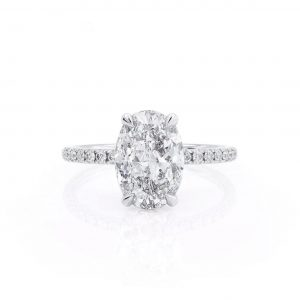 18K White Gold, Oval Cut Under Halo Diamond Engagement Ring 1.00ct