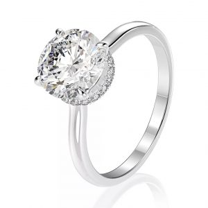 18K White Gold, Round Cut Under Halo Diamond Engagement Ring 1.00ct