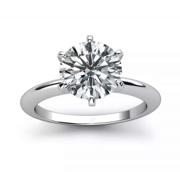 Six Prong Knife edge Round Diamond Solitaire Engagement Ring