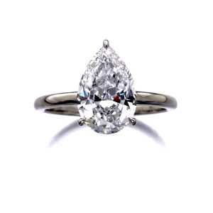Pear Shape Solitaire Engagement Ring three Prong