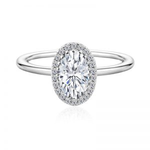 Oval Halo Engagement Ring plain band