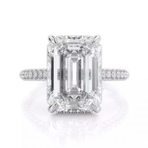 Emerald cut hidden halo engagement ring pave band