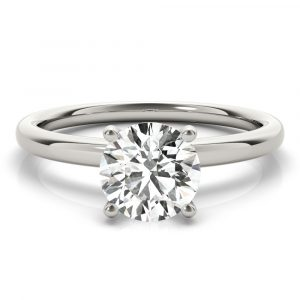 Prong Set Round Hidden Halo Engagement Ring