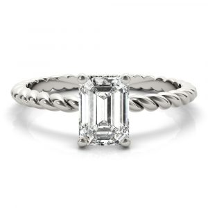 Emerald Solitaire Rope Band Engagement Ring