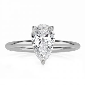 Hidden Halo Pear Engagement Ring